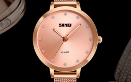SKMEI Luxury Quatz Rose Gold Ladies Wrist Watch