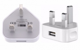 Three Pin USB Charger Plug for Mobile Phones and Tablets